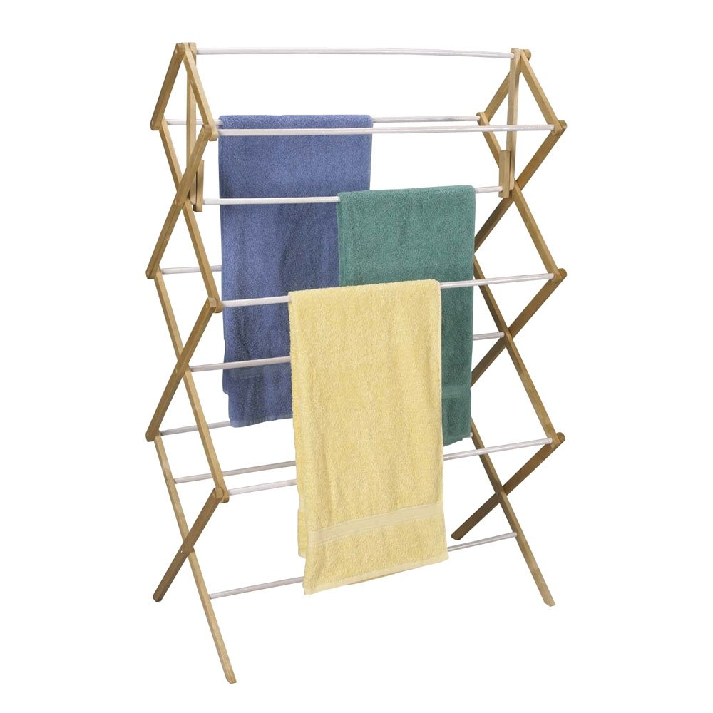 Household Essentials Folding Clothes Drying Rack, Wood Frame with Vinyl Dowels