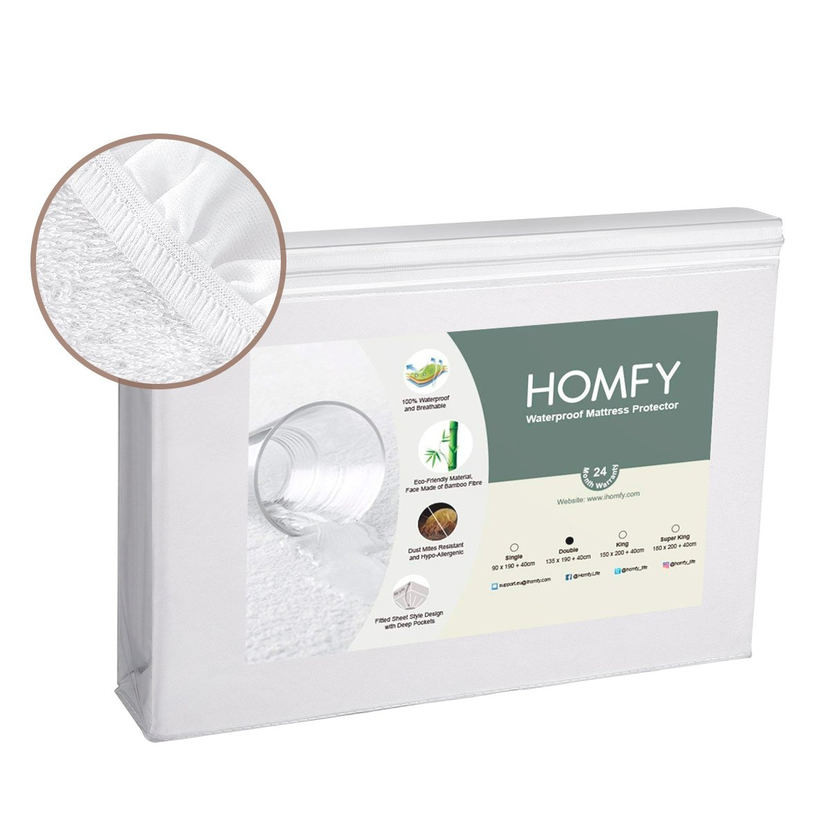HOMFY Waterproof Mattress Protector, Single Fitted Sheet for Junior or Cot Bed, Terry Towelling and Breathable, Anti-Allergy
