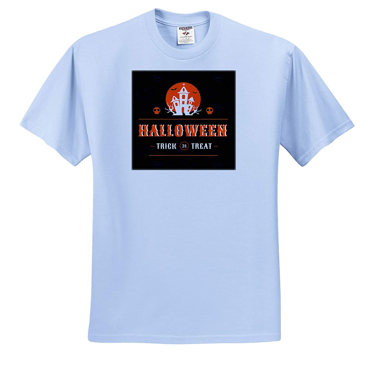 3dRose Doreen Erhardt Halloween Collection Spooky Haunted House Halloween Typography in Orange and Black T-Shirts