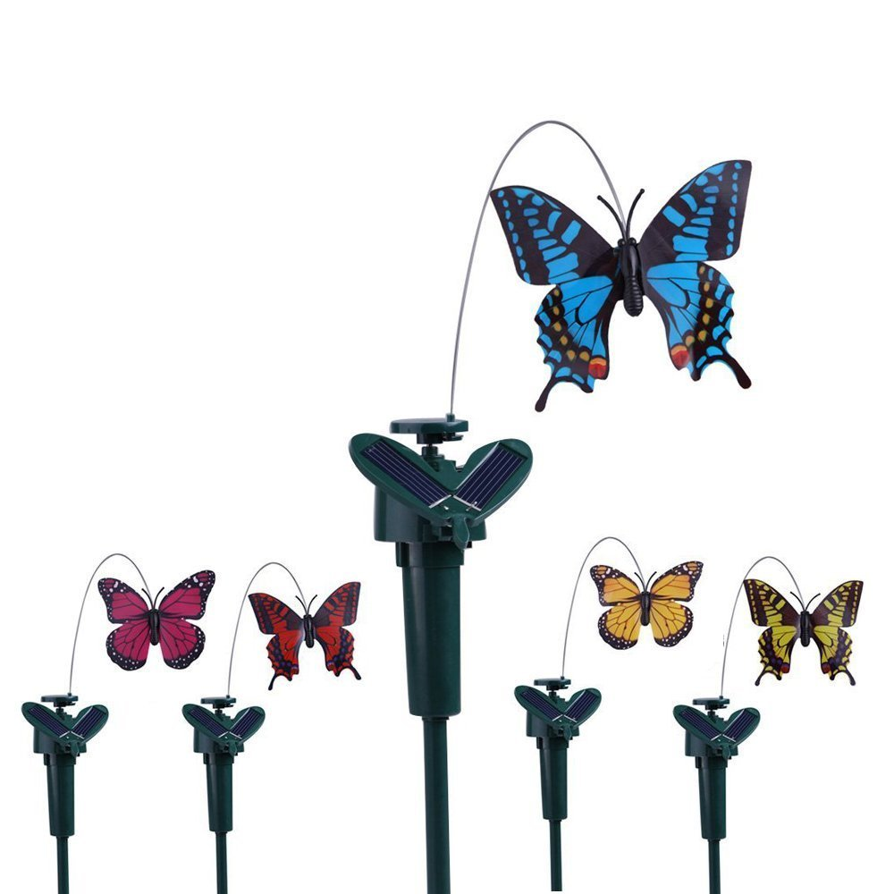 Vanki Solar Yard Stake Fluttering Insects, Solar or Battery Powered, 5 PCS Butterfly