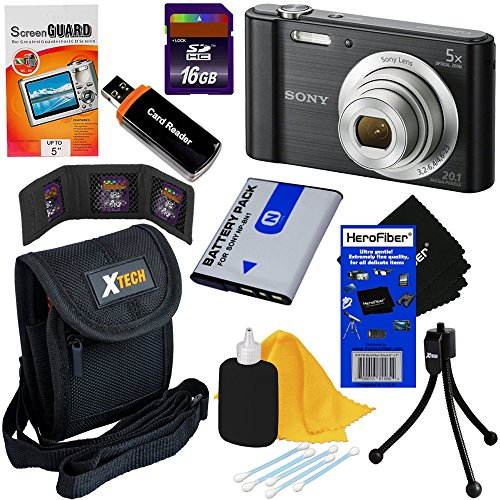 Sony Cyber-shot DSC-W800 20.1 MP Digital Camera with 5x Zoom and Full HD 720p Video (Black) - International Version + NP-BN1 Battery + 8pc 16GB Accessory Kit w/ HeroFiber Ultra Gentle Cleaning Cloth (Cybershot Card Sd Sony)
