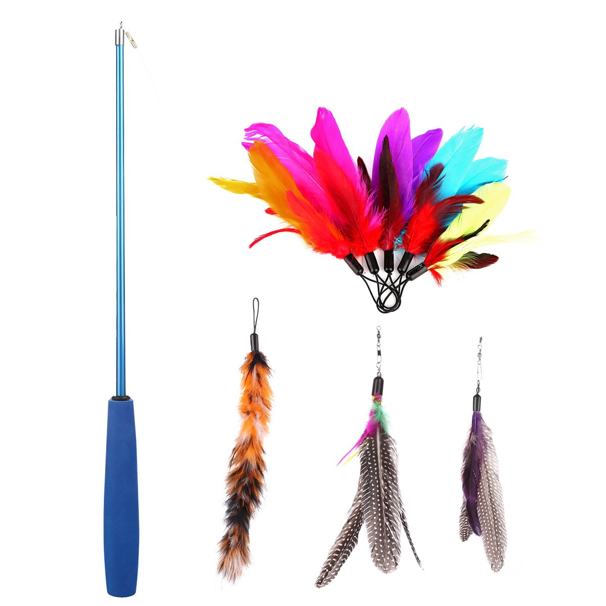 Etrech Retractable Wand Rod with 8 Piece Assorted Feather Cat Toy, Blue