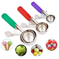 Ice Cream Scoops- Cookie Scoop Melon Baller with Trigger Release for Fruit, Ice Cream Stainless Steel Spoon Scoopers Set- Elegant Gift Package (Green Red Purple, Large Medium Smal)