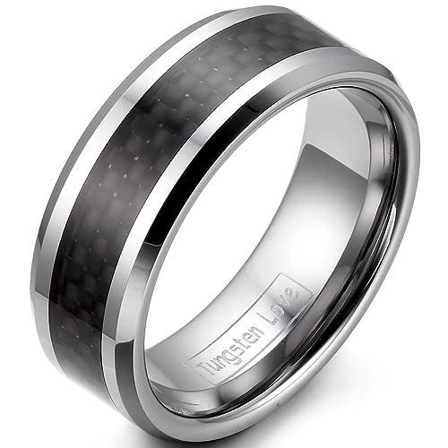 JewelryWe - Anillo de joyería de carburo de tungsteno Hombres 8 mm Fibra de Carbono Negro Anillos de Boda Anillos de Compromiso Plateado tamaño 52 a 74: ...