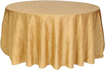 132 Inch Round Crinkle Taffeta Tablecloths Gold Amazon Co Uk Kitchen Home