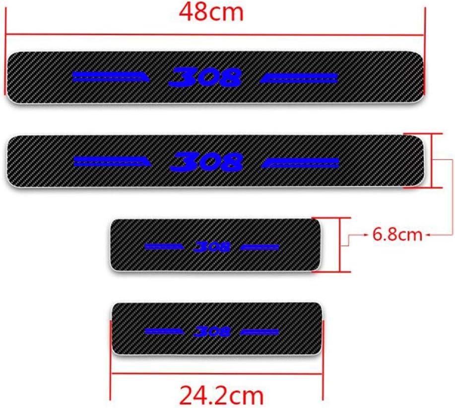8X-SPEED para 308 4D M Fibra de Carbono Pegatinas Sill/ín Pedal Proteger Umbral Cubierta Car Styling Sticker 4 Piezas Blanco