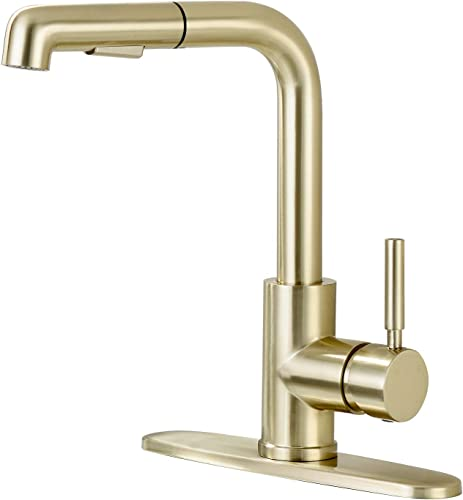Pirooso Stainless Steel Kitchen Facuet, 20 inches Magnetic Pull Out with Sprayer, 2 Function Setting Sprayer, Single Handle Kitchen Faucet with Deck Plate, Gold Brushed Nickel