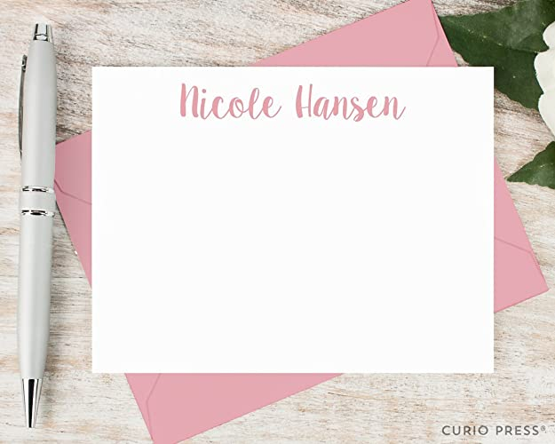 cute name personalized flat note card stationery stationary set - Personalized Flat Note Cards