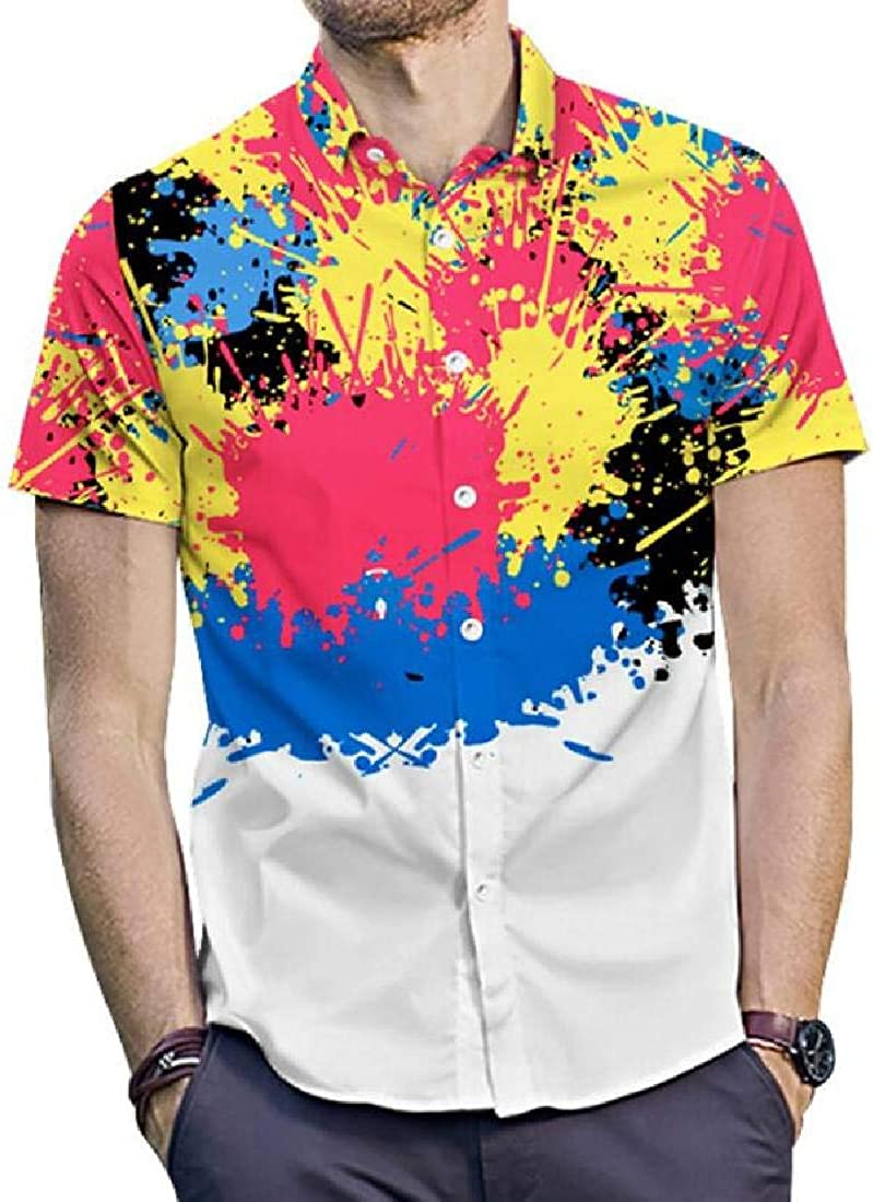X-Future Men Summer Splash Ink Plus Size Short Sleeve 3D Print Lapel Collar Button Down Shirts