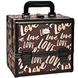 Makeup Train Case Cosmetic Organizer - Lockable Storage Box with Trays and Mirror Brown by Joligrace