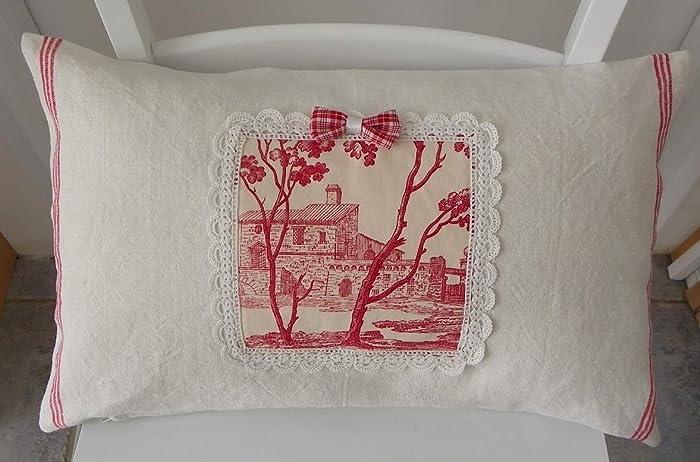 HOUSSE de coussin 50x30 cm,blanc cassé écru rouge lin ancien à