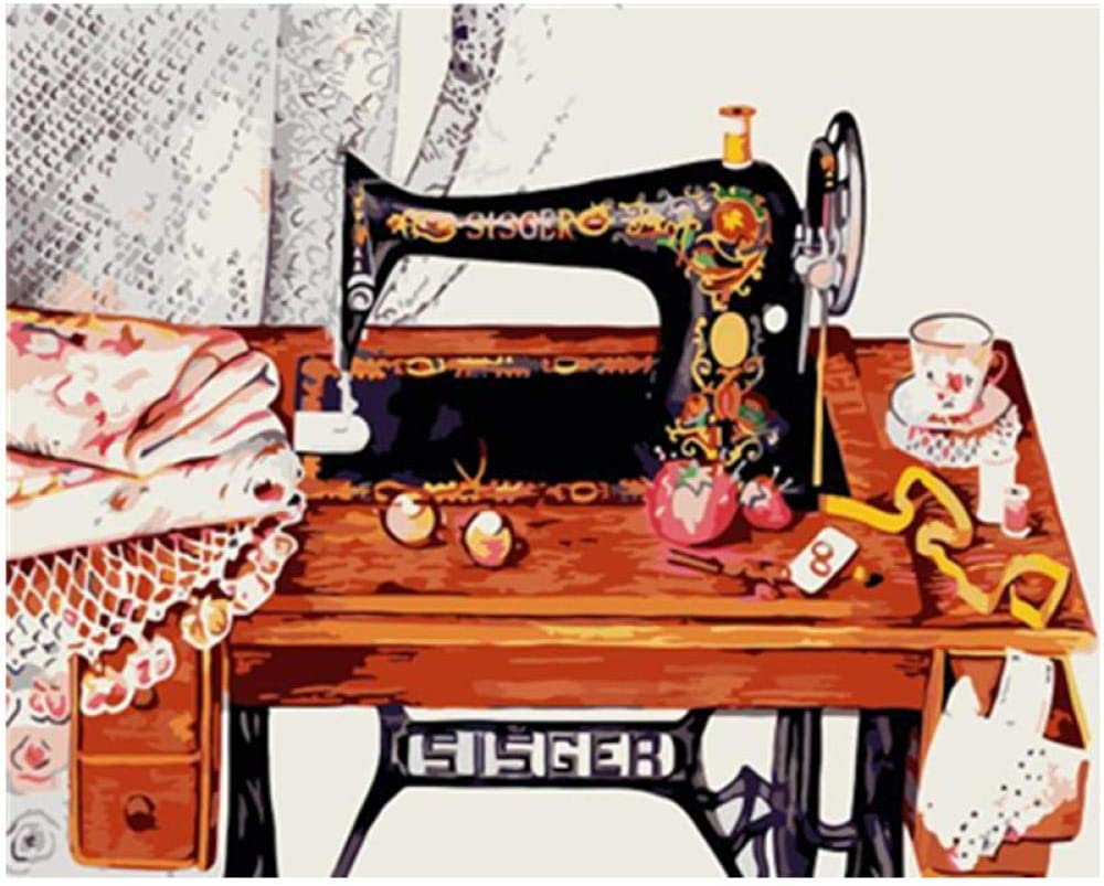 Pintar Por Numeros Adultos Con Marco 40X50Cm Máquina De Coser Vintage Bodegón Lienzo Sobre Lienzo Acrílico Para Niños Principiantes Regalo De Arte Hecho A Mano -HUA5D