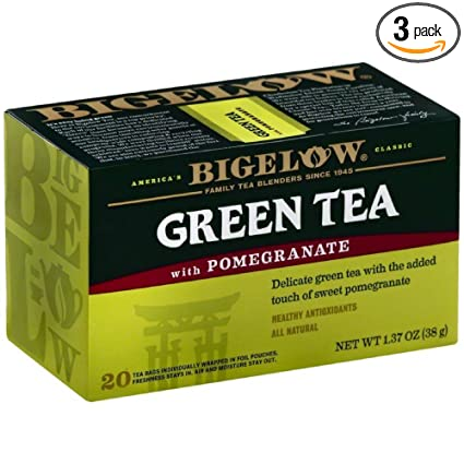 Bigelow Tea Green con granada 20 bolsas (Pack de 3): Amazon ...