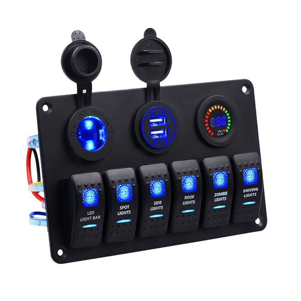 Meipire Led Switch Panel Rocker Pressure Dc 12v 24v 12 Way Marine Non Illuminated Circuit Breaker Amazonco Toggle 6 Gang With Cigarette Lighter 42a Dual Usb Charger Digital Voltmeter