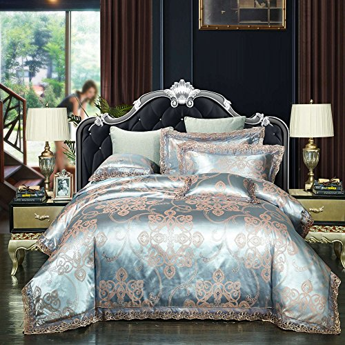 Luxury Jacquard Queen 7 Piece (4-Piece Classical European Satin Jacquard Bedding Quilt Set, Duvet Cover Set 200cmx230cm (78x90 Inch) and 2 Pillow Shams 19x29 Inch (Style 7, TWIN/XL TWIN))
