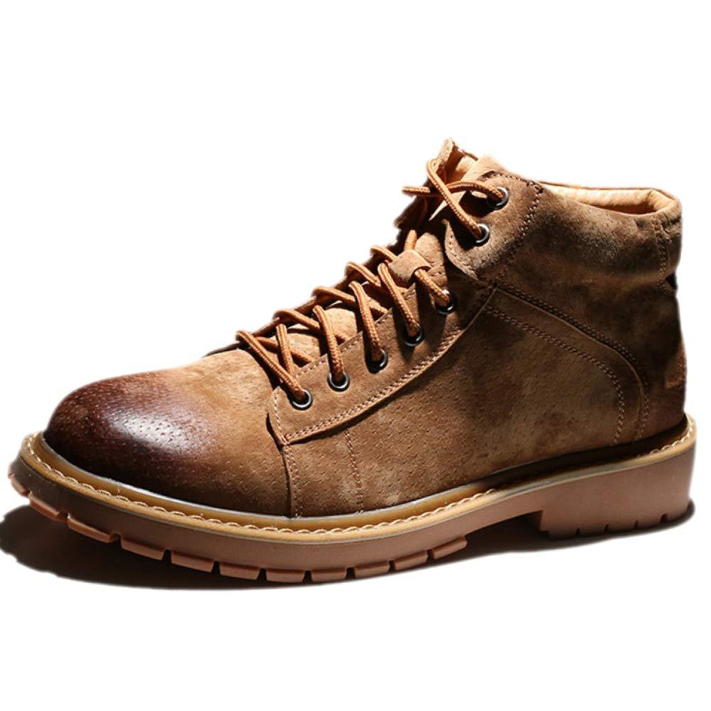 Snfgoij Schwarze Arbeitsschuhe Herren Turnschuhe Wasserdicht Beständig Outdoor Winter Martin Stiefel Vintage High Cut Leder Plus Samt Größe,braun-39