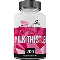 EBYSU Milk Thistle Extract - 200 Capsules Max Strength Seed Extract with Silymarin. Liver Cleanse Detox Supplement, Helps Boost Immune System & Supports Weight Loss. Non-GMO Capsules