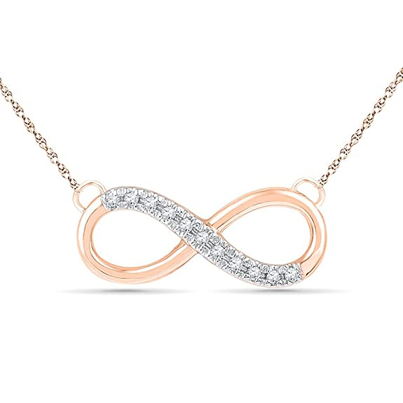 Bevilles 9ct Rose Gold Diamond Set Infinity Necklace