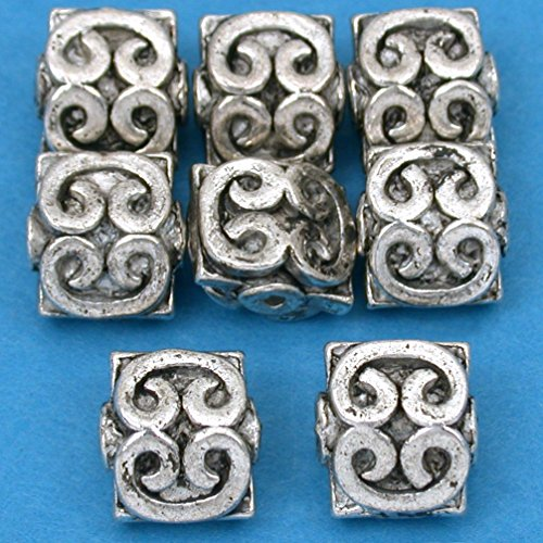 Beads Silver Plt Beading (16g Bali Heart Square Bead Antq Silver Plt 9mm Approx 8)