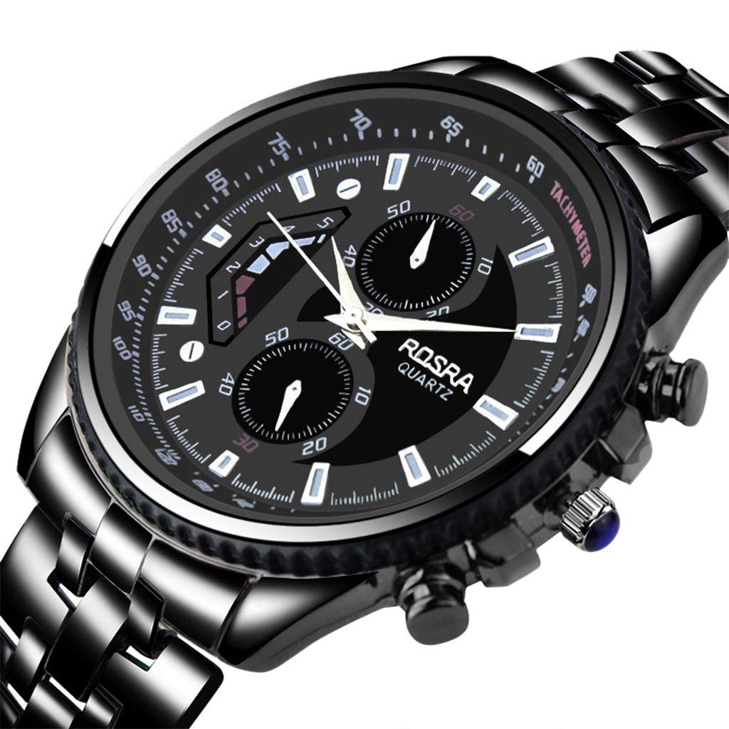 Staron  New Men's Watches 2019 Luxury Sports Casual Fashion Quartz Wristwatches Stainless Steel Band Black Color Men Business Male Clock Mens Watch (Black)