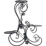 Dazone® 3-Tiered Scroll Decorative Metal Garden Patio Standing Plant Flower Pot Rack Display Shelf Holds 3-Flower Pot (Black)