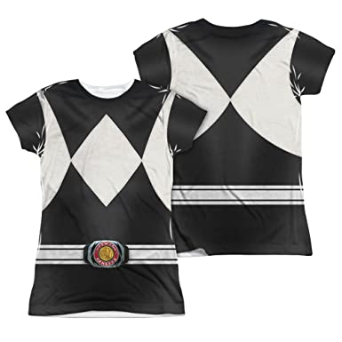 1a4ee39fc0a Image Unavailable. Image not available for. Color  Juniors  Power Rangers- Black  Ranger Costume Tee ...