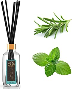 Focusing Aromatherapy Scent Diffuser with 100% Pure Rosemary and Peppermint Essential Oils | Home Fragrance | 10 Reed Diffuser Sticks and 4 oz Bottle | Hand Made in The USA