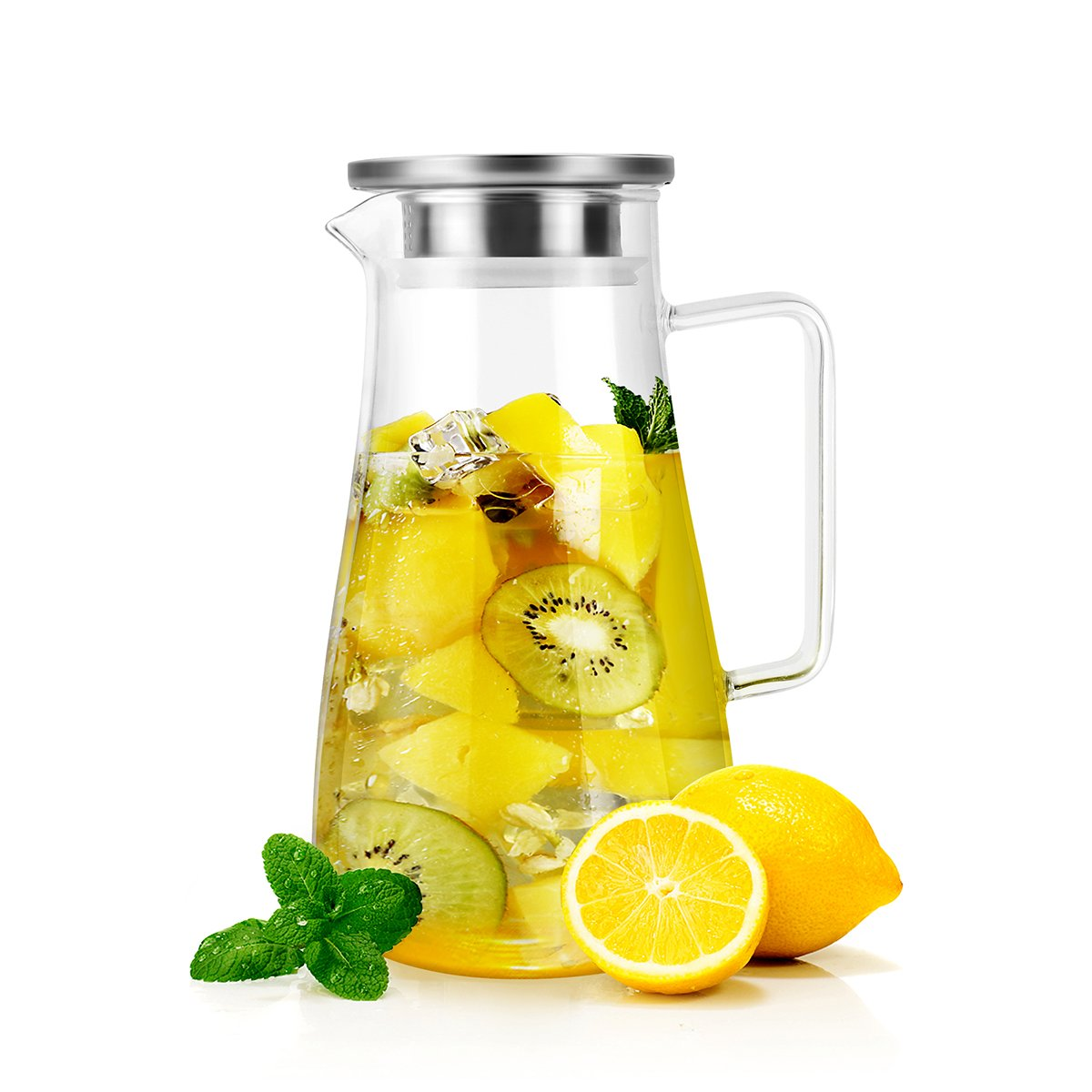 1500 ml Glass Pitcher with Stainless Steel Lid and Spout Water Carafe with Handle by RayPard, for Homemade Juice & Iced Tea