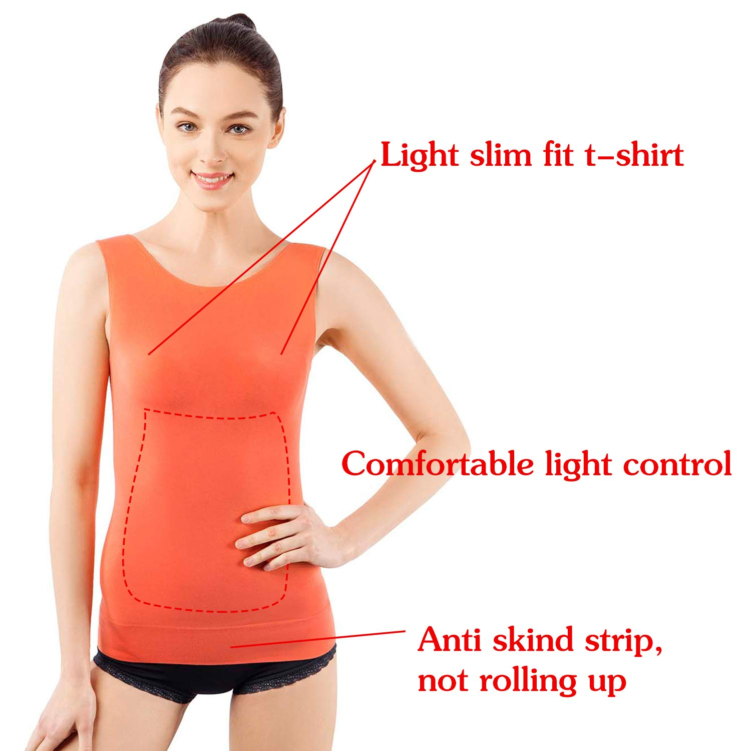 MD Shapewear Tank Top Body Shaper Camisole Cami Workout for Tummy and Waist