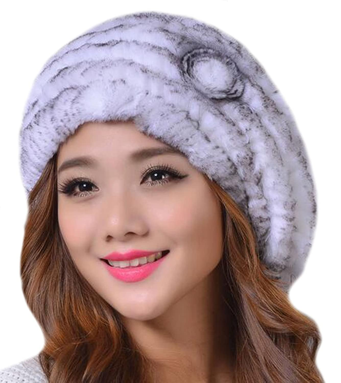 Vska Girls Ladies Winter Flower Rex Rabbit Fur Beret Knitted Hat