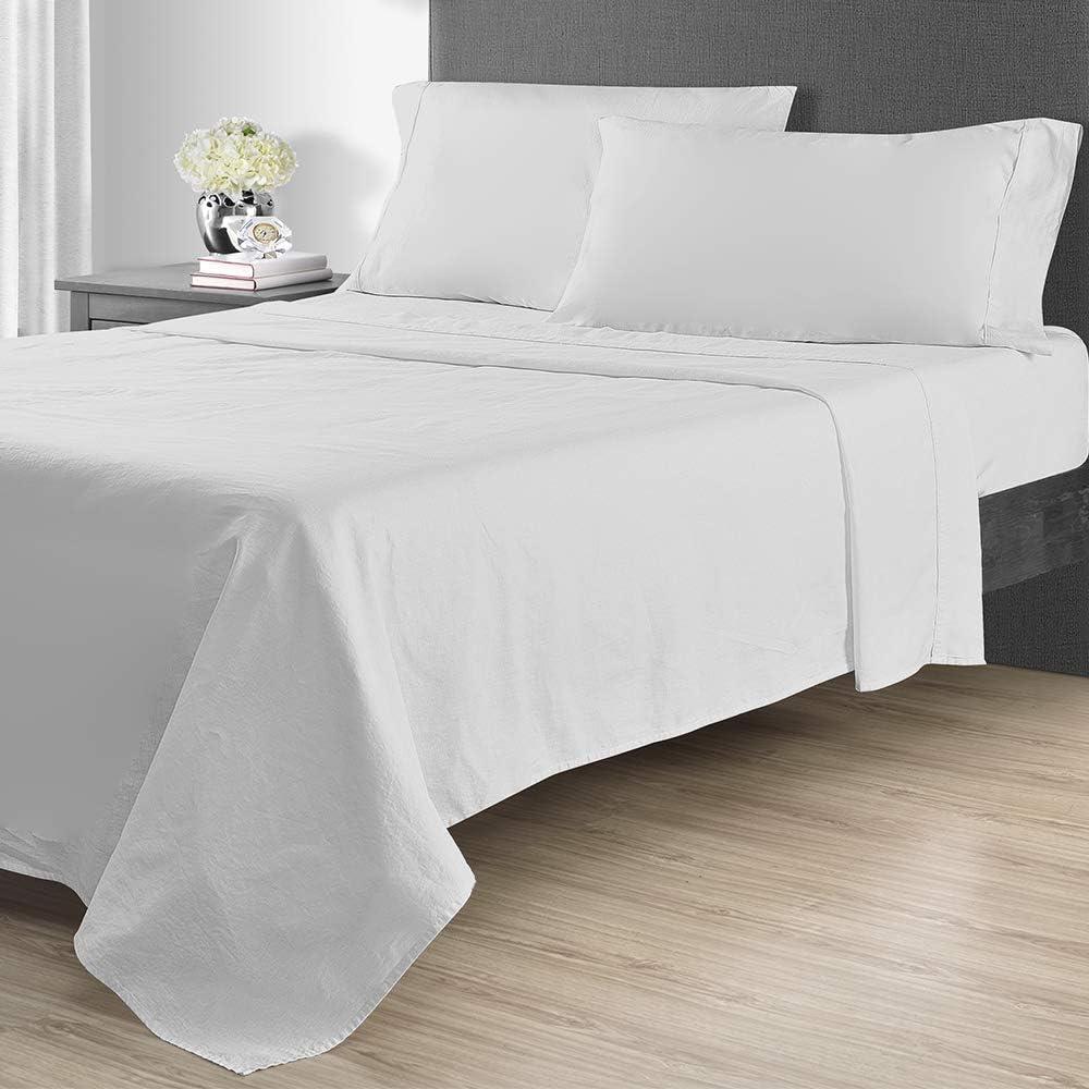 Sunham Home Fashions 1400 TC Sheet Set, Queen, White