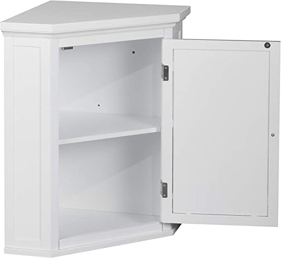 Amazon Com Elegant Home Fashions Louvered Cabinet Door Corner Storage Wall Cabinet Home Improvement