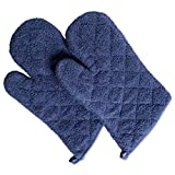 DII 100% Cotton, Terry Oven Mitts 7 x 13, Heat Resistant, Machine Washable for Everyday Kitchen Basic, Set of 2, French Blue, Ovenmitt, 2 Piece