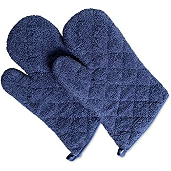 DII 100% Cotton, Terry Oven Mitt Set Machine Washable, Heat Resistant, 7 x 13, French Blue, 2 Piece