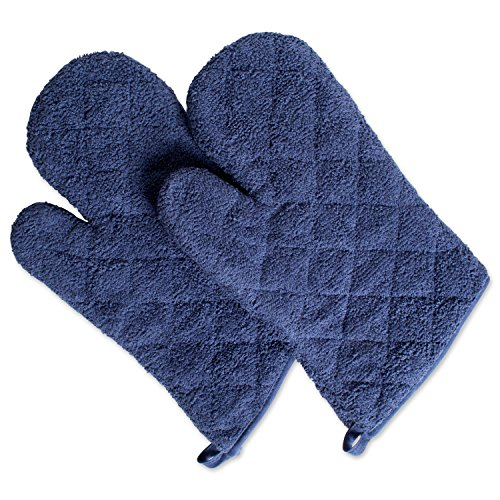 DII 100% Cotton, Terry Oven Mitts 7 x 13, Heat Resistant, Machine Washable for Everyday Kitchen Basic, Set of 2, Ovenmitt, French Blue, 2 Piece
