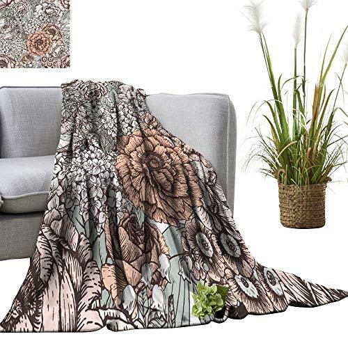 (YOYI Bed Blanket Peony Flowers Primrose lila Vintage Wallpaper Gentle Comfortable Home Decor 60