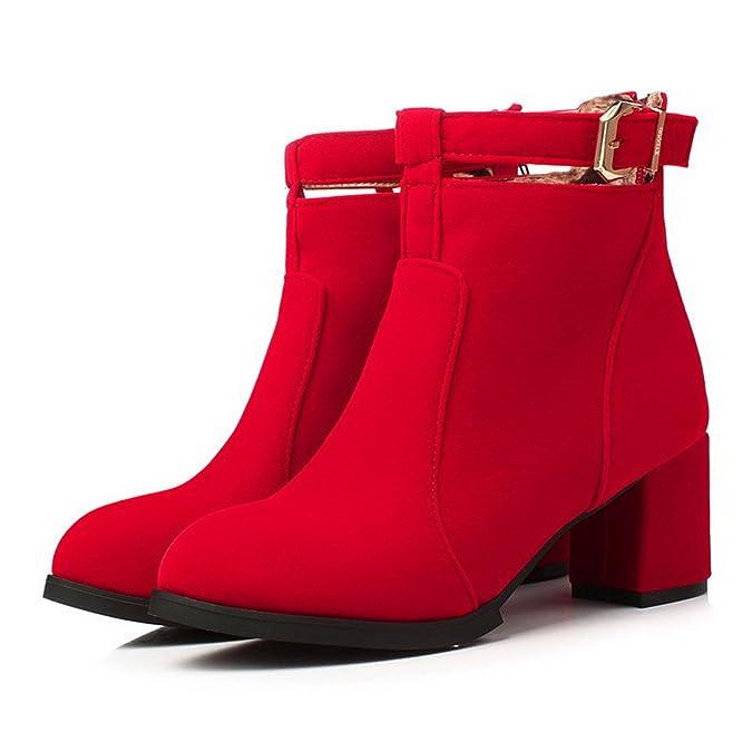 AllhqFashion Damen Rein Nubukleder Rücken Rund Zehe Stiefel mit Metall Schnalle, Rot, 34