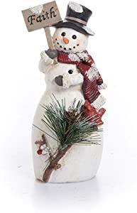 Transpac Imports Medium Resin Traditional Snowman Figurines White