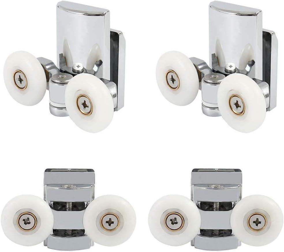 Juego de 4 rodillos de la puerta de la ducha superior e inferior Guías de rodillos gemelos 23 mm de diámetro Baño Ruedas gemelas Poleas Piezas de repuesto inferiores (2 superiores +