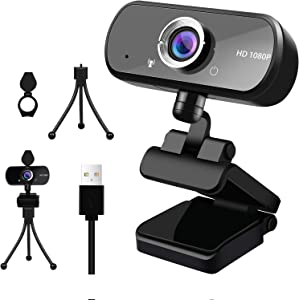 Webcam HD 1080p Web Camera, USB PC Computer Webcam with Microphone, Laptop Desktop Full HD Camera Video Webcam 110-Degree Widescreen, Pro Streaming Webcam for Recording, Calling, Conference, Gaming