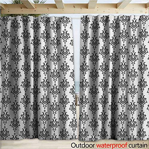 - warmfamily Damask Grommet Curtain Panel Baroque Style Victorian Renaissance Pattern with Arabesque Effects Vintage Design W108 x L108 Black White