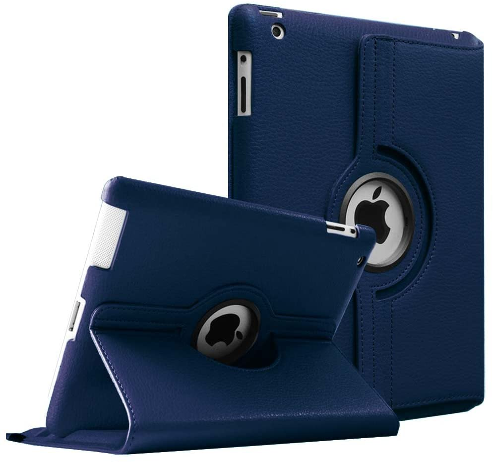 Fintie Rotating Case for iPad 4 3 2 (Old Model) 9.7 inch Tablet - 360 Degree Rotating Smart Stand Protective Cover Auto Wake/Sleep for iPad 4th Gen Retina Display, iPad 3 & iPad 2, Navy