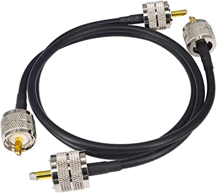 YILIANDUO - Cable PL259 SO239 macho a UHF macho cable coaxial 50 ohm baja pérdida RG58 para wifi Ham Radio CB cable antena CB 50 cm Pack de 2