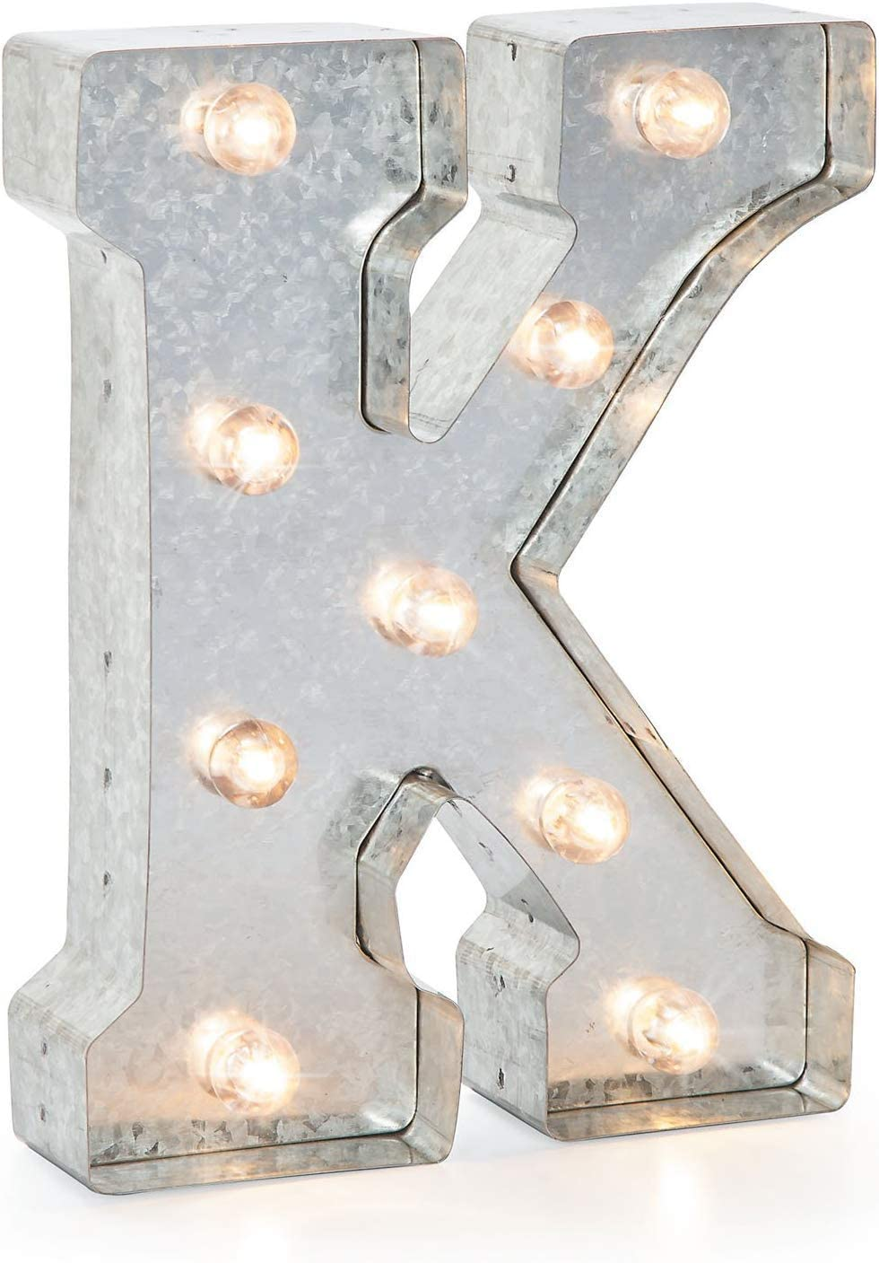 "Darice Silver Metal Marquee Letter – K-9.87"" Tall, Galvanized Finish"