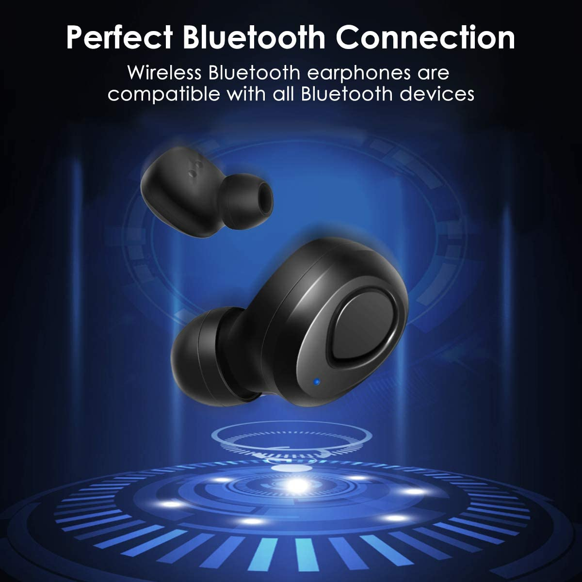 Wireless Earbuds Bluetooth Headphones Stereo Earphone Cordless Sport Headsets Compatible with Microphone /& Charging Case for iPhone 8 X 7 7 Plus 6S 6S Plus