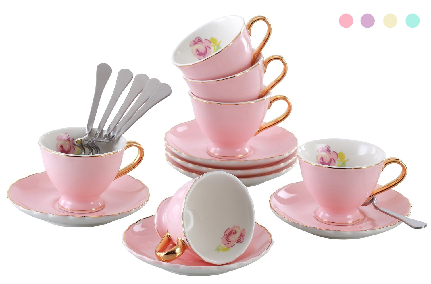 Jusalpha Fine China Coffee Bar Espresso small Cups and Saucers Set, 3-Ounce FD-TCS02 (Set of 6, Pink) SYNCHKG072124