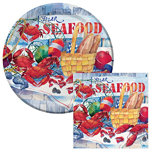 Fresh Seafood Lunch Plates & Napkins Party Kit for 8
