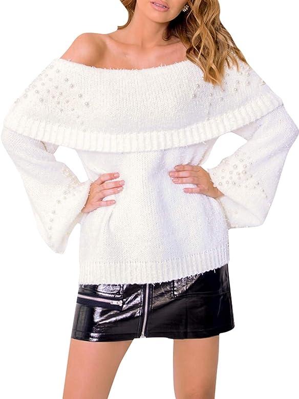 Damen Pullover Elegant Volant Off Shoulder Trompetenärmel Sweater Oberteil mit Perlen Beige