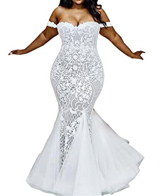 Wdress Women\'s Mermaid Wedding Dresses Off The Shoulder ...