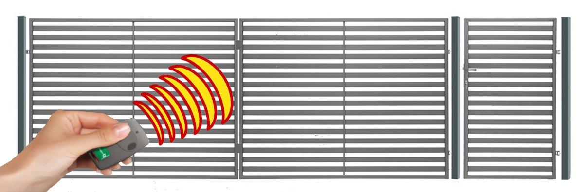 SO24 Einfahrtstor Hoftor Doppelflügeltor Gartentor Berlin 400 x 150 cm, mit Pforte 94 cm, elektr. Antrieb und Riegelset, Komplett-Set inklusive 2 Torflügeln, 1 Pforte, 3 Stahlpfosten, Beschlägen, 1 elektr. Antrieb mit 1 Fernbedienung und 1 R